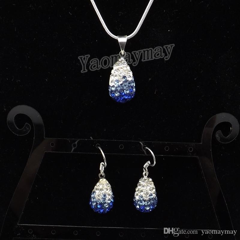 Waterdrop Shape Rhinestone Jewelry Set Gradient Colors Earrings And Necklace For Women Wholesale
