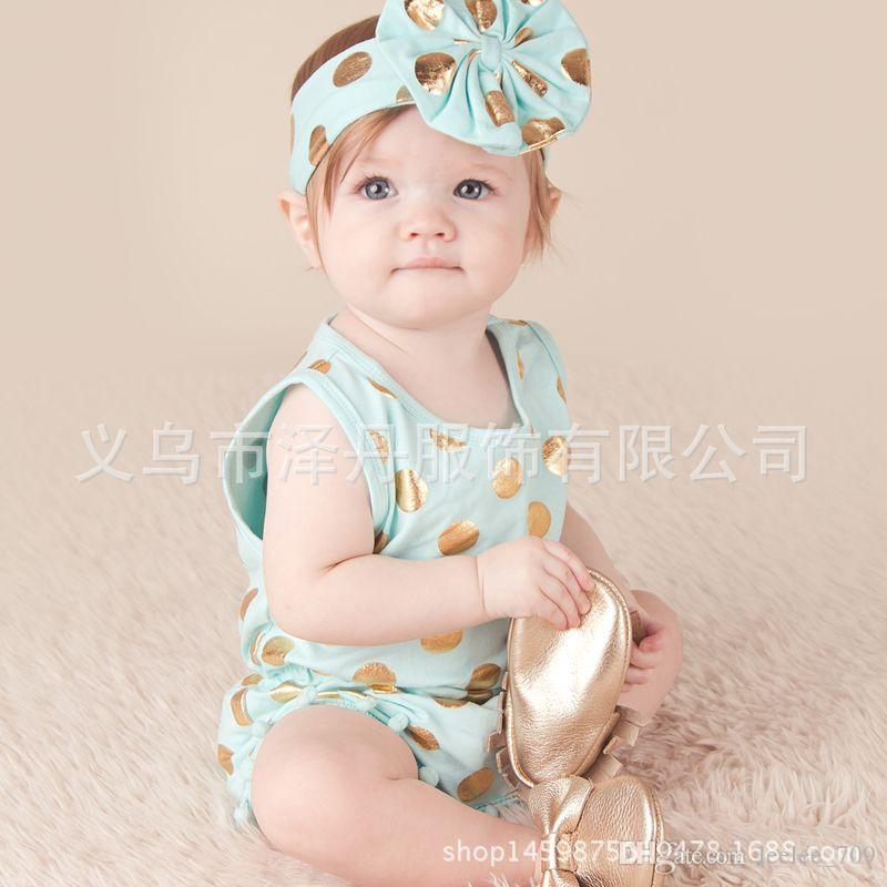 2017 INS New Baby girl toddler Summer clothes clothing set outfits Gold dots Tassels Pom Pom Romper Onesies Jumpsuits + Bow headband