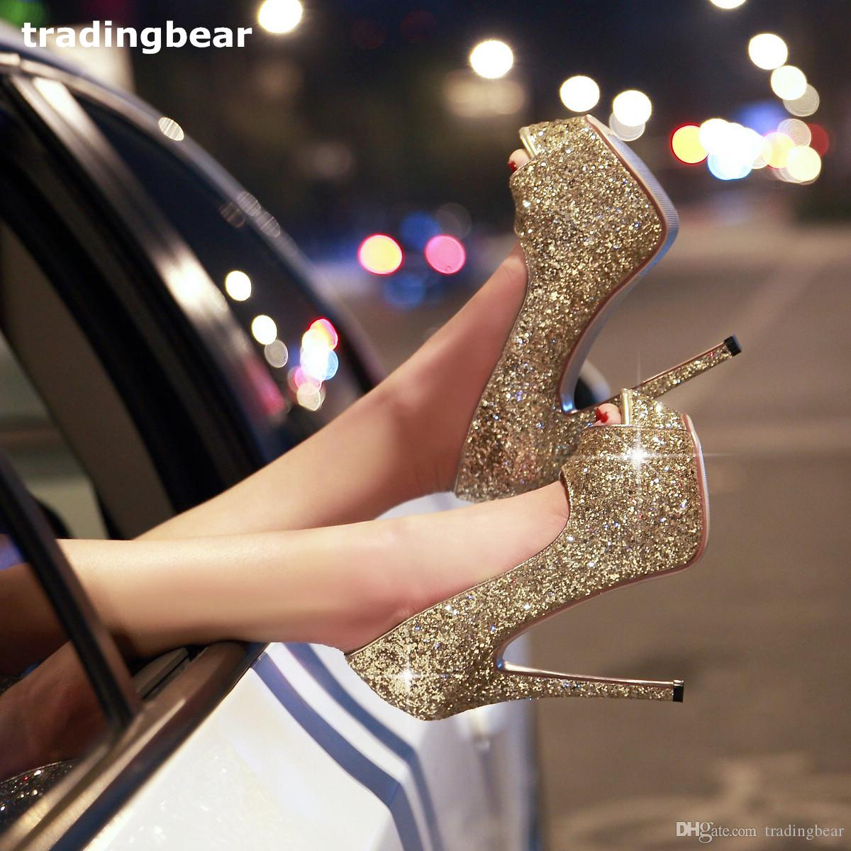 7096daebc7 Small Big Size Sexy Women Men Peep Toe Platform High Heels Wedding Shoes  Gold Silver Glitter Sequined Stiletto Pumps Loafer Shoes Shoes Uk From  Tradingbear, ...