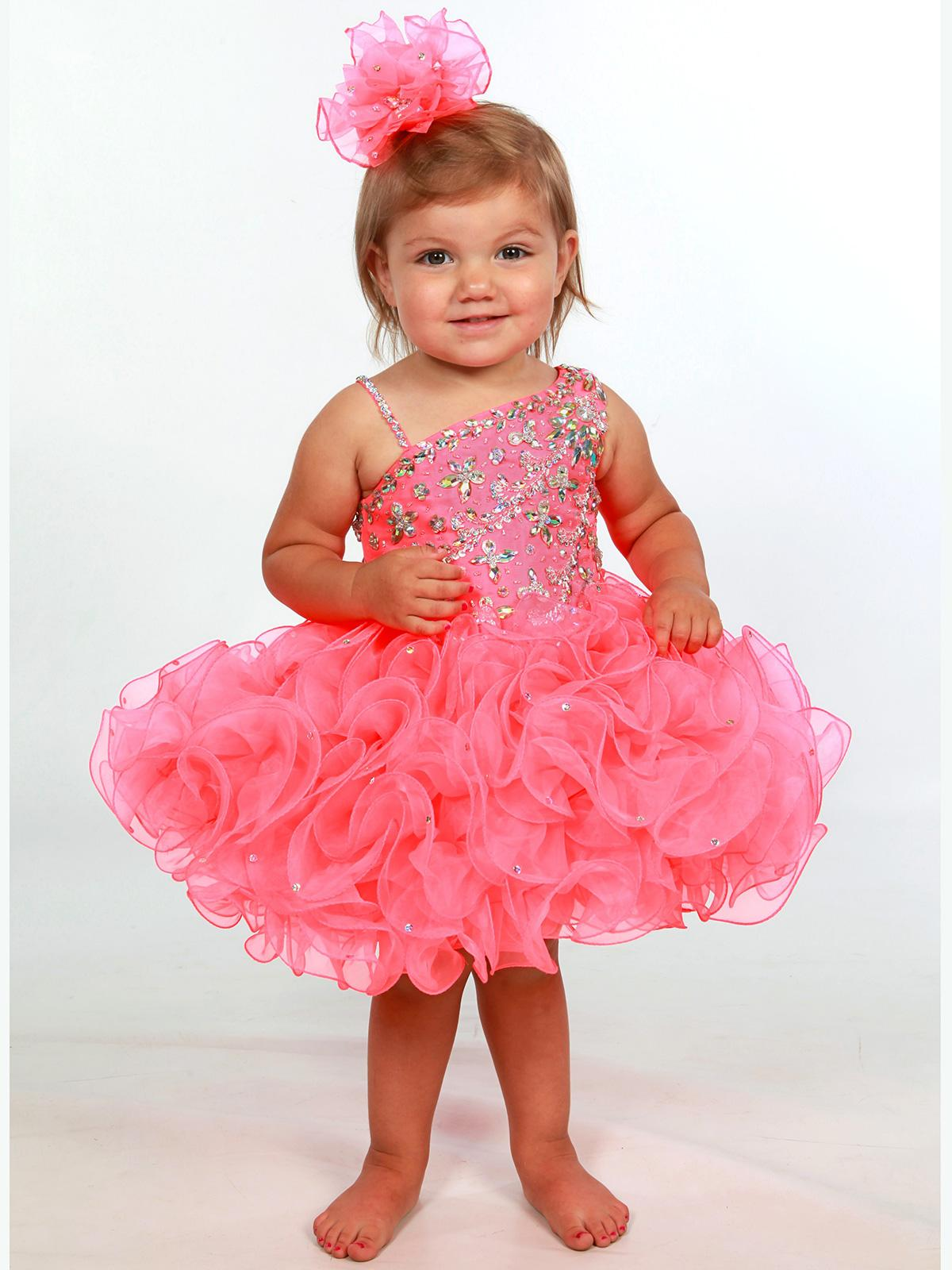 Toddler Baby Pageant Dresses 2017 with One Shoulder and Short Ruffled Cupcake Skirt Pink Girls Cupcake Pageant Dress Custom Made