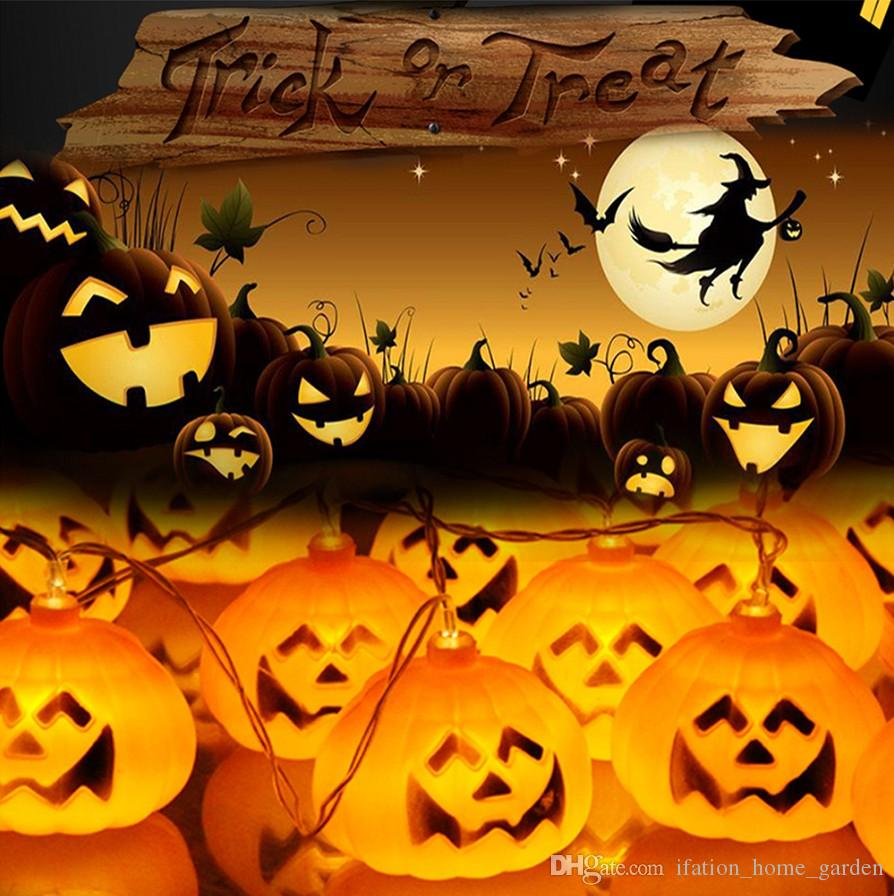 2017 pumpkin halloween string lights yellow color aa battery power props decorations supplies home party decor from ifation_home_garden 1026 dhgatecom - Halloween Pumpkin Lights