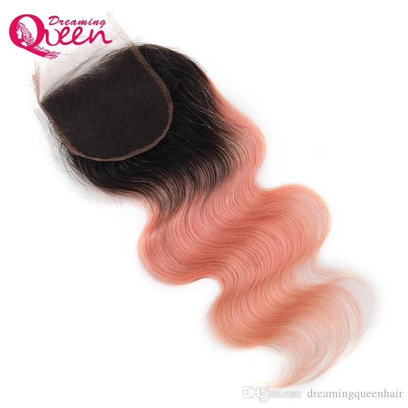 1B 핑크 바디 웨이브 레이스 클로저 옹 브르 브라질 인간의 머리카락 핑크 4x4 클로저 버진 인간의 머리 꿈꾸는 여왕 머리카락