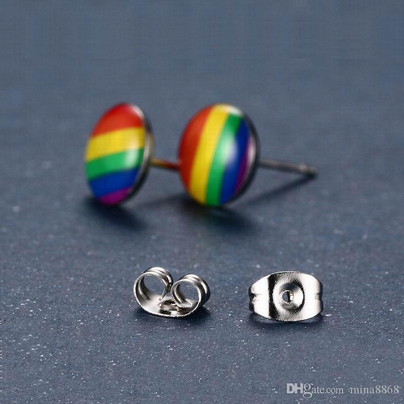 Orecchino a perno arcobaleno colorato di moda gioielli da donna in acciaio inossidabile 316L gioielli da uomo in acciaio inossidabile 316L