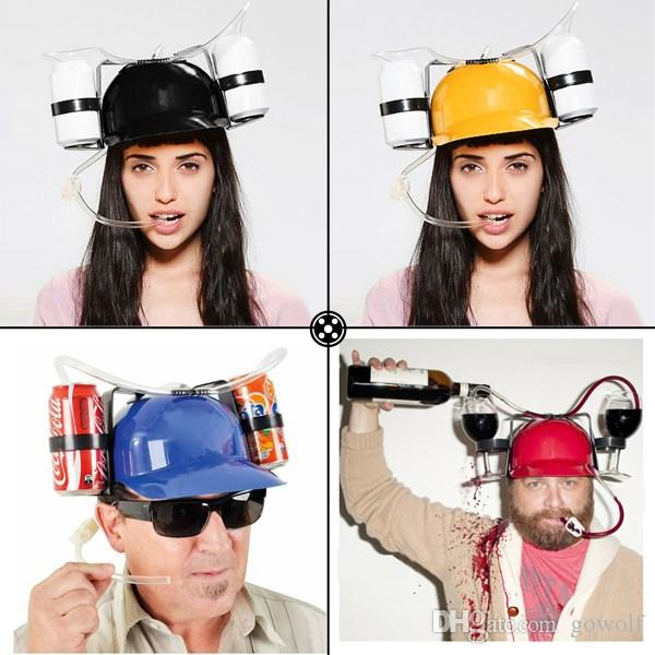 Beer Colar Can Holder Drinking Helmet Drinking Hat Fun Cool Unique Party Holiday Game Hat Cap