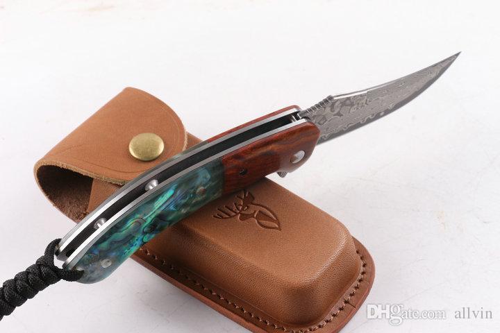 Top Quality VG10 Damascus Flipper Folding Knife 58HRC Acid branch wood + abalone shell Handle EDC Pocket Knifes Gift Knives Xmas Gift