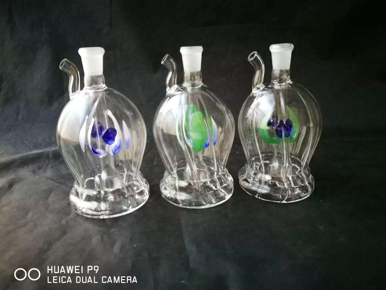 vientre redondo acanalado pipa de agua, vidrio al por mayor Bong, Tubos quemador de aceite de cristal agua, humo Accesorios de tubería