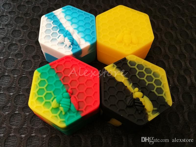 Nonstick Honeybee wax containers 26ml hexagon honey bee silicone container food grade jars dab tool storage jar oil holder for vaporizer DHL
