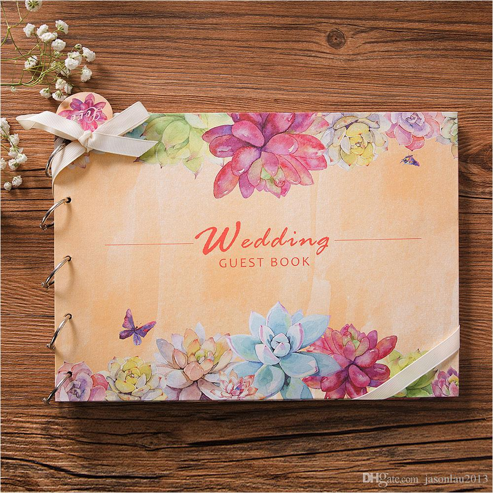 online cheap vintage wedding guest book flower marriage book for signature anniversary gift wedding souvenirs party supplies weddings events by