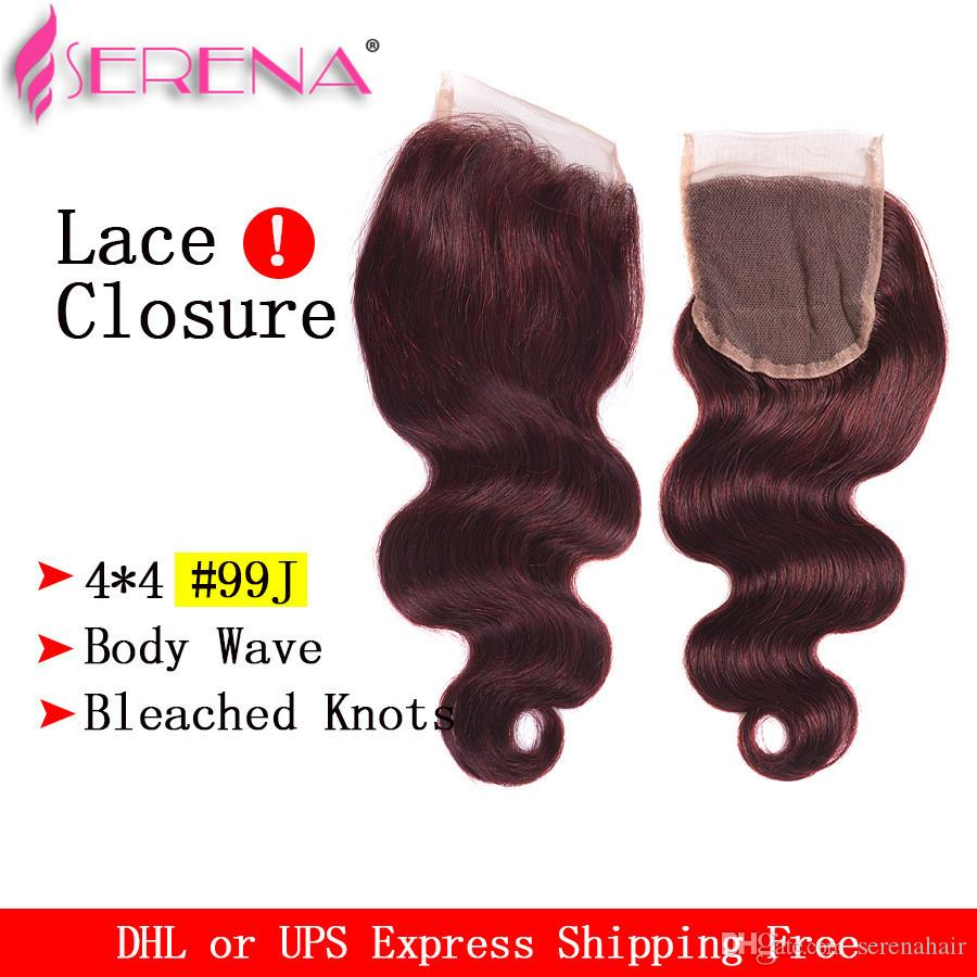 Body Wave Burgundy Virgin Hair closure and bundles Crochet Braid Red Wine 99J Indian human hair weave closure hair extensions closures