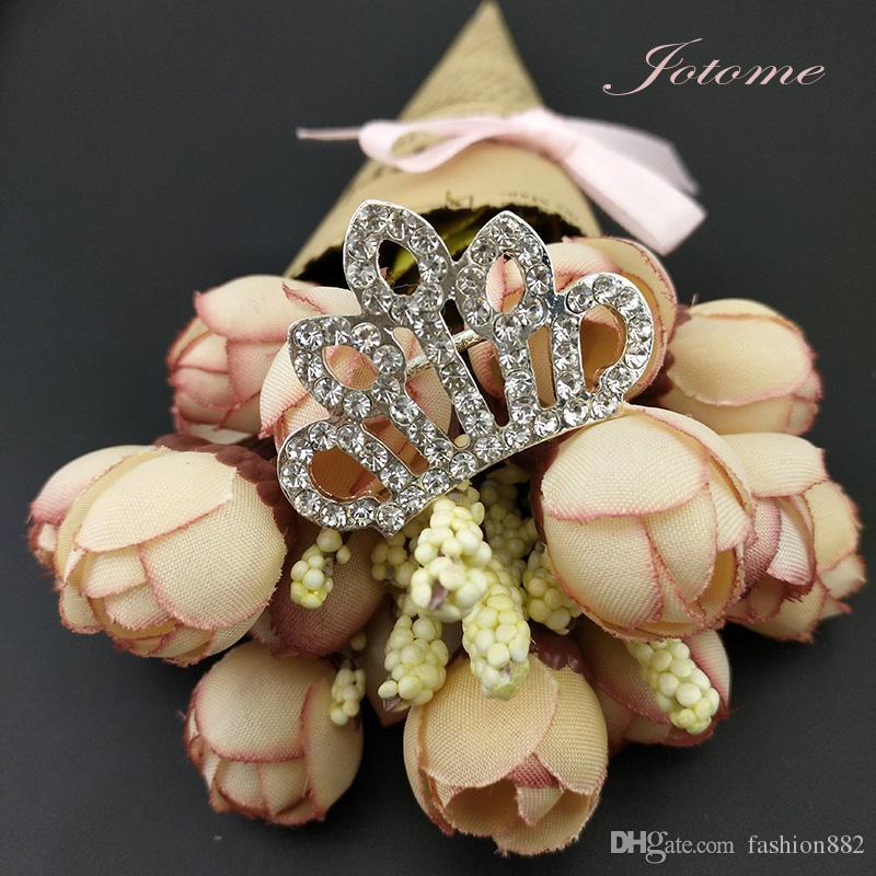 / 36mm Mini Crown Brooch Pin Silver Tone Clear Rhinestone Crystal Brooches Elegant Wedding Party Pins