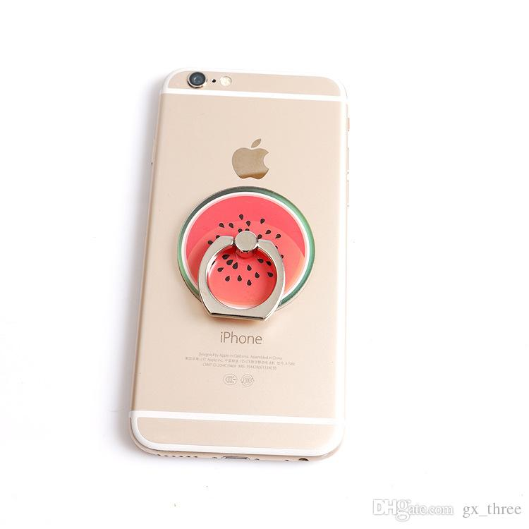 Wholesale -Mixed color fruit ring buckle phone stent creative flat support corporate activities gifts OEM custom lazy Bracket