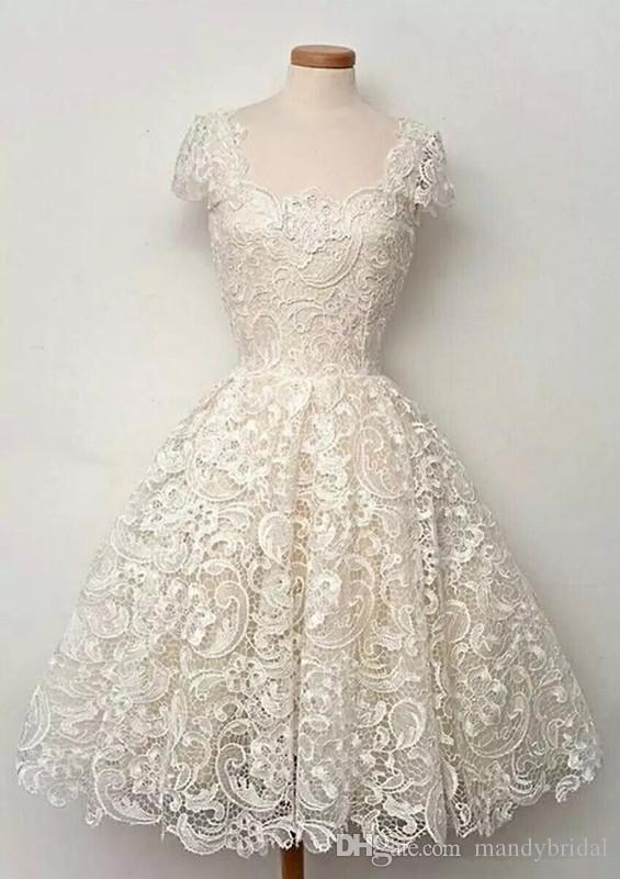 Discount Real Picture Vintage Wedding Party Dresses Beach Little ...