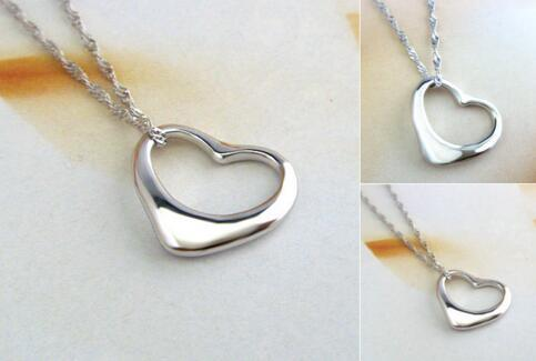 Argent 925 plaqué Collier Charms Collier chaîne Peach Pendentif Coeur Collier Bijoux Best Friends coeur pour femmes cadeau de Noël
