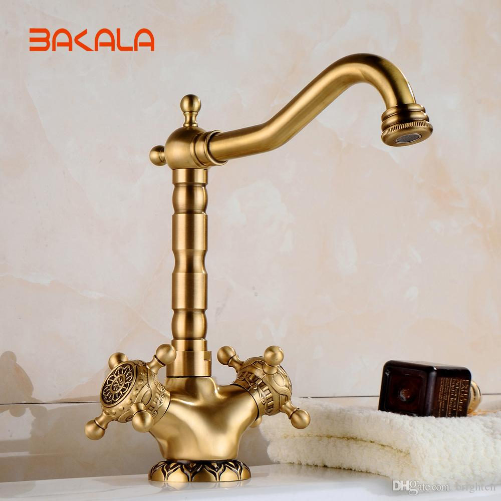 BAKALA New Arrival Tall Faucet Vintage Style Bathroom Basin Sink Faucet Antique Brass Mixer Tap Dual Handles Deck Mounted CA9902