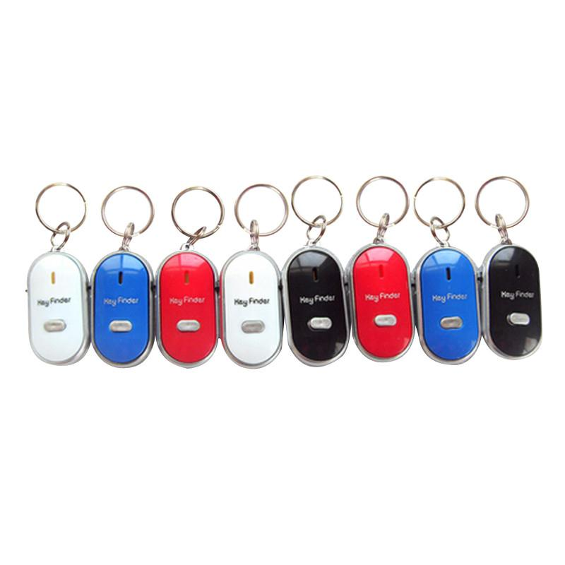 Free Shipping Hot Sale White LED Key Finder Locator Find Lost Keys Chain Keychain Whistle Sound Control