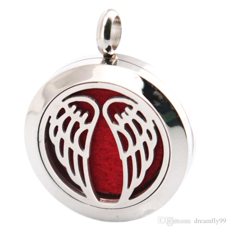 Angel Wing 25mm Aromatherapy Essential Oil surgical Stainless Steel Necklace Perfume Diffuser Locket Include Chain and Felt Pads