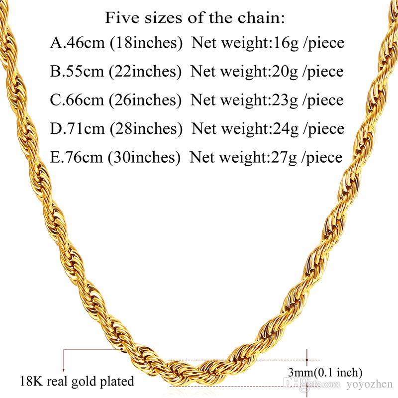 남성 골드 체인 패션 보석 선물을위한 18K 진짜 금 도금 스테인레스 스틸 와이어 로프 체인 목걸이