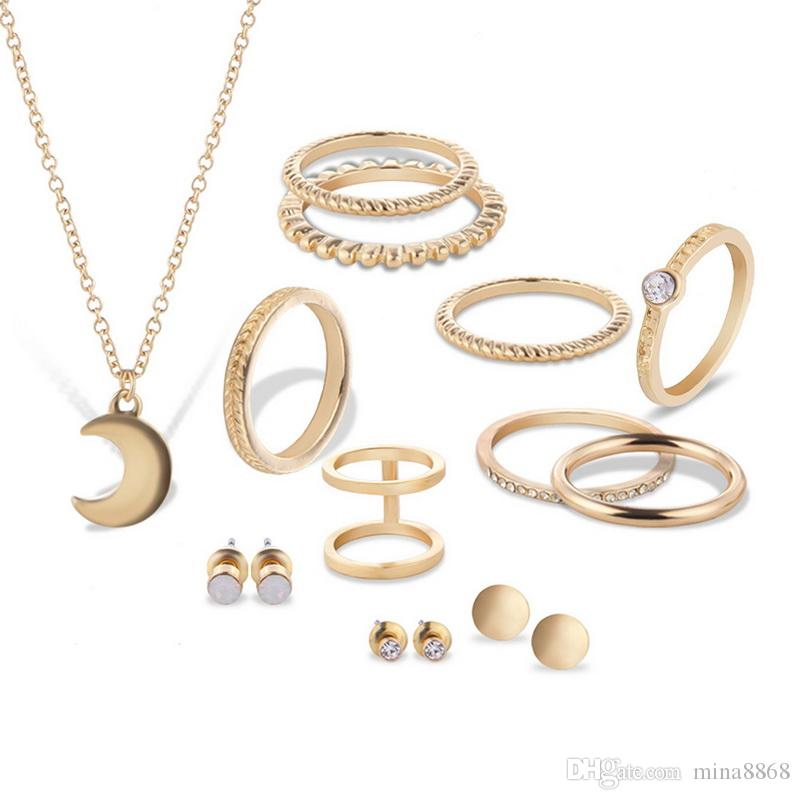 New Fashion Women Wedding Jewelry Set Moon Necklace Round Earrings Joint knockle Rings set Jewelry Sets for Brides bijoux