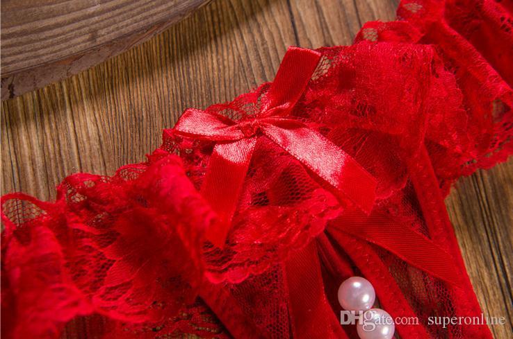 سراويل داخلية مثيرة الدانتيل اللؤلؤ الديكور زهرة بيكيني ثونغ G- سلسلة سراويل الظهر سراويل السيدات النساء الملابس الداخلية الحميمة