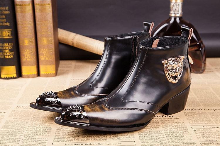 Rock POP Stivali Uomo Stivali in pelle maggiorati Altezza parrucchiera Moda Stivali uomo con punta in metallo Western Cowboy, Uomini partito Botas, EU38-46