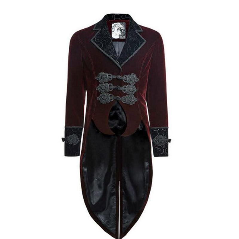 2018 Wholesale Gothic Punk Red Man Dovetail Coat Long Sleeve ...