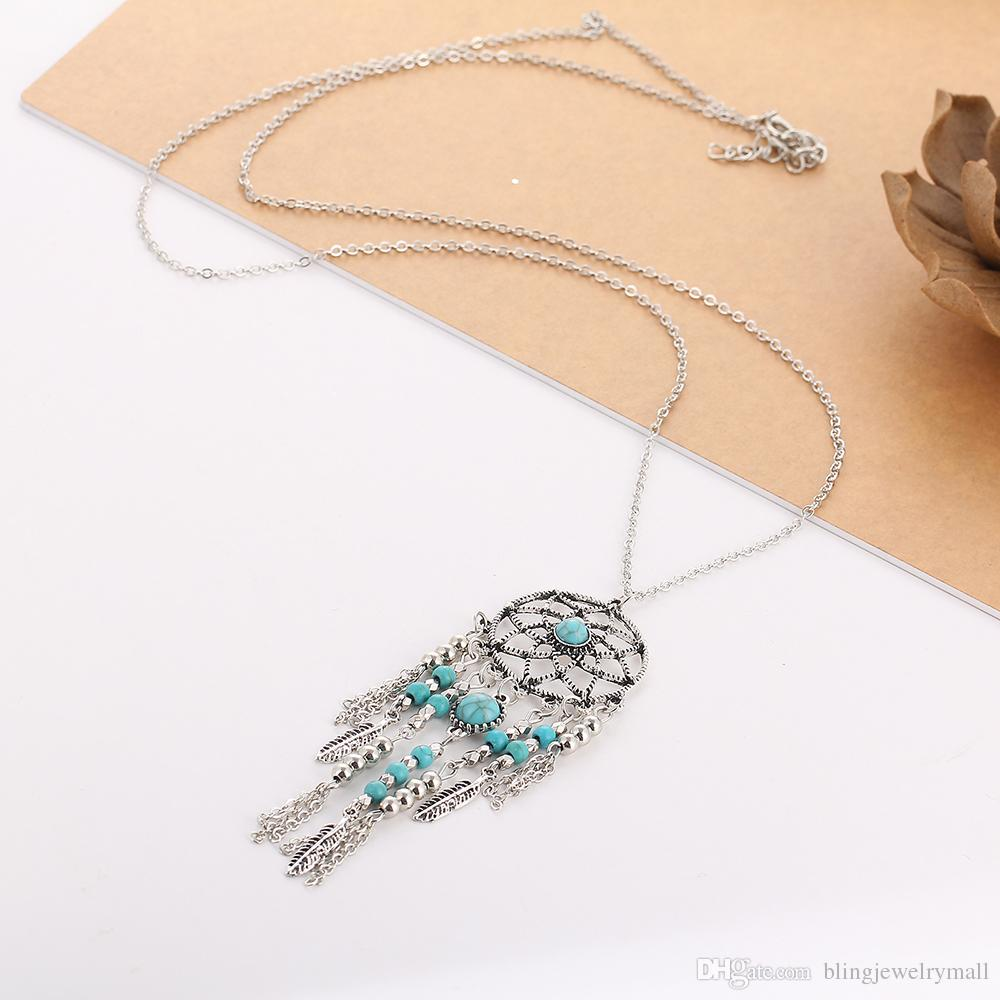 Indian Style Hot New Dream Catcher Necklace Tube Collar Blue Stone Tassel Beads Necklace Bijoux Necklace for Women