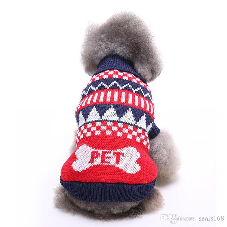 وصول الرنة كلب عيد الميلاد حزب هالوين الملابس الجديدة محبوك جرو ازياء القطة الأليفة ندفة الثلج ملابس خارجية معطف سترة الملابس HH7-250