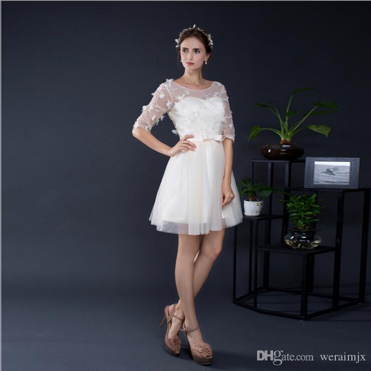 Short Dresses Bridesmaid Dresses Petite Sizes Half Sleeves Prom Dress Formal Party Gowns Simple Designs Homecoming Dresses for Teens LDM145