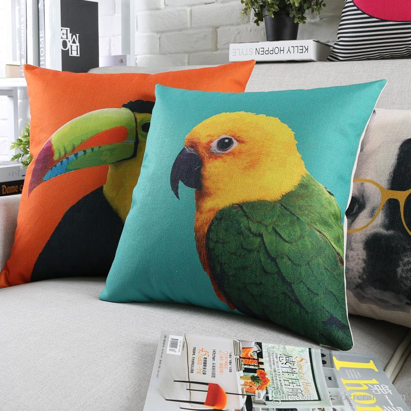 Bird Parrot Toucan Deer Bulldog Cushion Covers Candy Colour