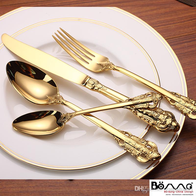 Stainless Steel Cutlery Gold Plated Flatware Set Golden Table Fork Spoon Knife Dessert Spoon Western Dinnerwar Dinnerware Sets Online Dinnerware Sets Red ... & Stainless Steel Cutlery Gold Plated Flatware Set Golden Table Fork ...