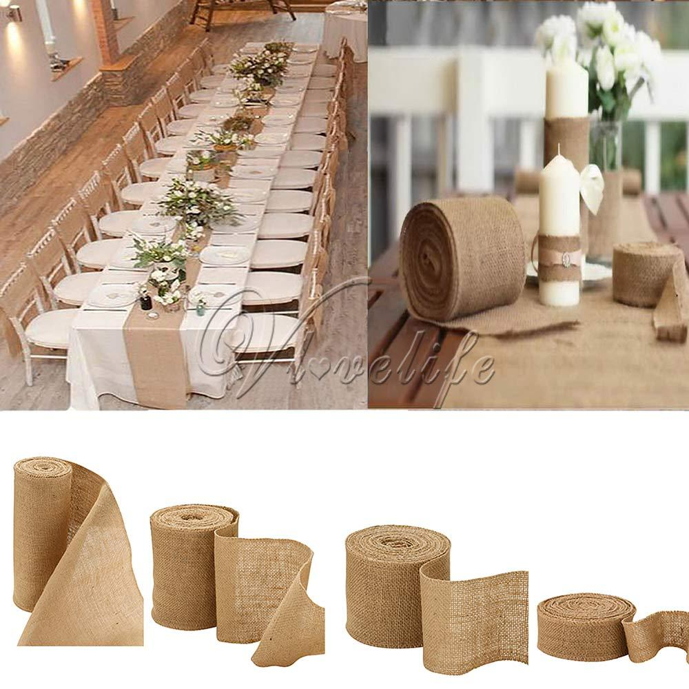 2019 10Meter Natural Jute Hessian Burlap Ribbon Roll Table Runners Wedding Party Chair Bands Vintage Home Decor 4 Size From Kepiwell5