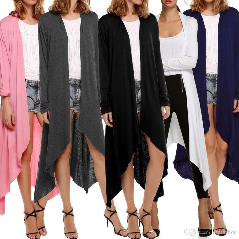 2018 Women'S Long Sleeve Open Front Long Cardigan Coat Casual Long ...