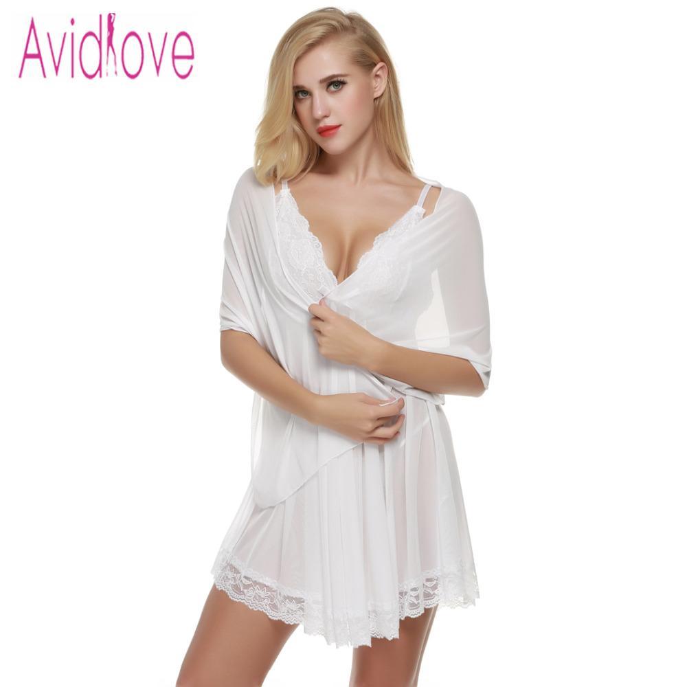 c50db2dea9 Compre Atacado Avidlove Sexy Mulheres Erotic Lingerie Babydolls Sexy Lace  Sleepwear Mini Vestido 3 Peças   Set Vestido + G String + Scarf U2 De  Rebecco