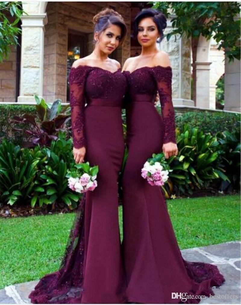 d34bb4c151e Burgundy Long Sleeve Bridesmaid Dresses 2017 Off The Shoulder Vintage Lace  Maid Of Honor Gowns Mermaid Formal Wedding Guest Dresses Custom Modest  Bridesmaid ...