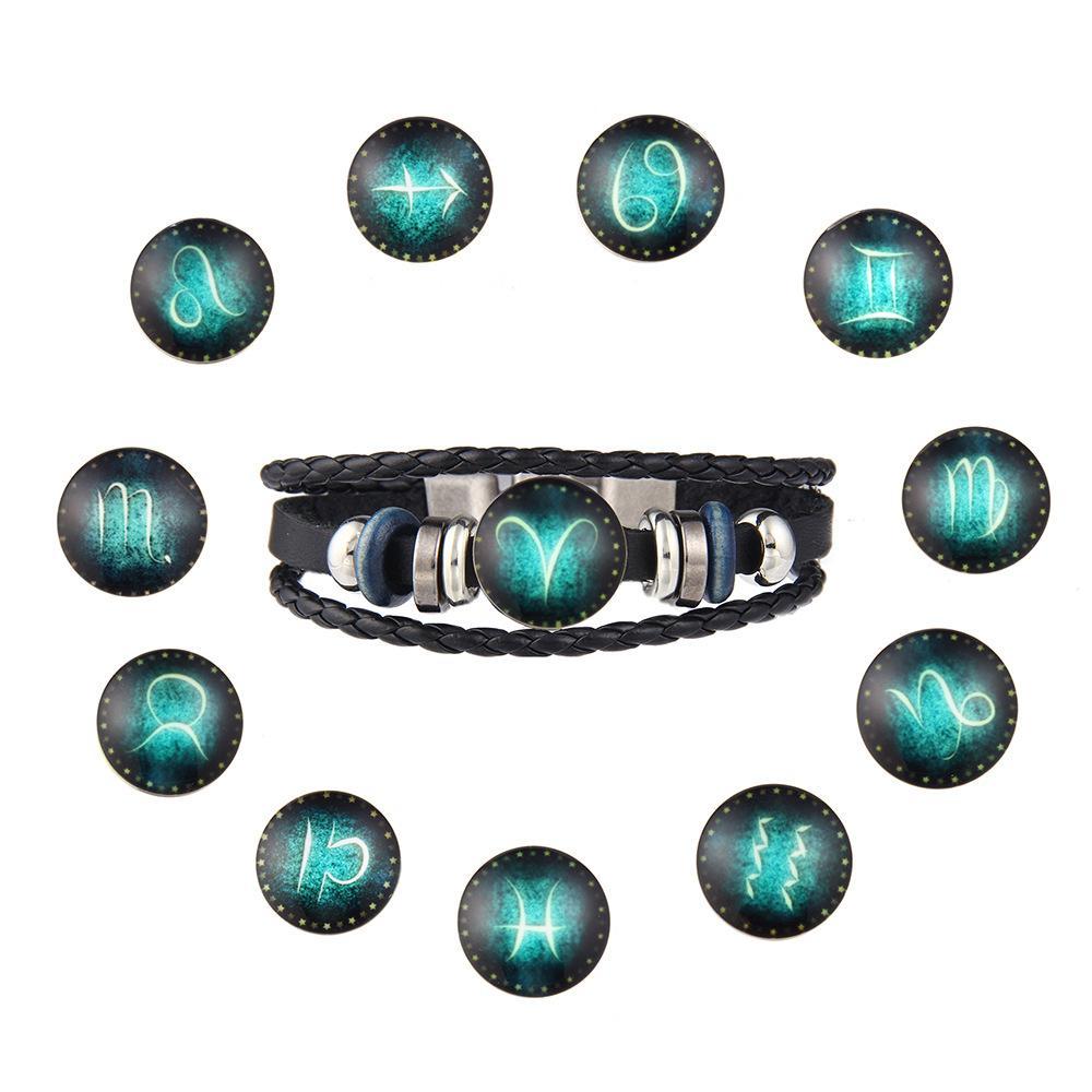 12 Zodiac Signs Bracelet 12 Constellation Mens Bracelets Beaded