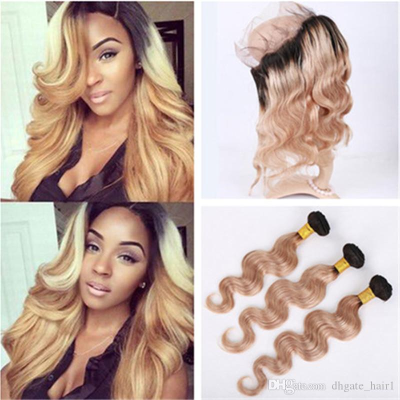 1b/27 Honey Blonde Ombre Brazilian Virgin Hair Weaves With 360 Frontal Body  Wave Dark Roots Light Brown 360 Lace Closure With Bundles Malaysian Remy  Hair ... Design