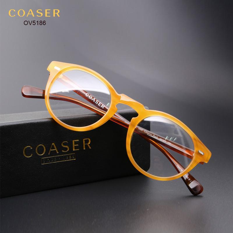 ef8df8f2dbb Wholesale- COASER OV5186 Vintage Glasses Frame Women Men Suit ...