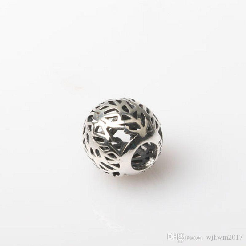 New Authentic 925 Sterling Silver Jewelry Openwork Autumn Leaves Beads DIY Craft Jewelry Accessories Fits Brand Logo Bracelets Making