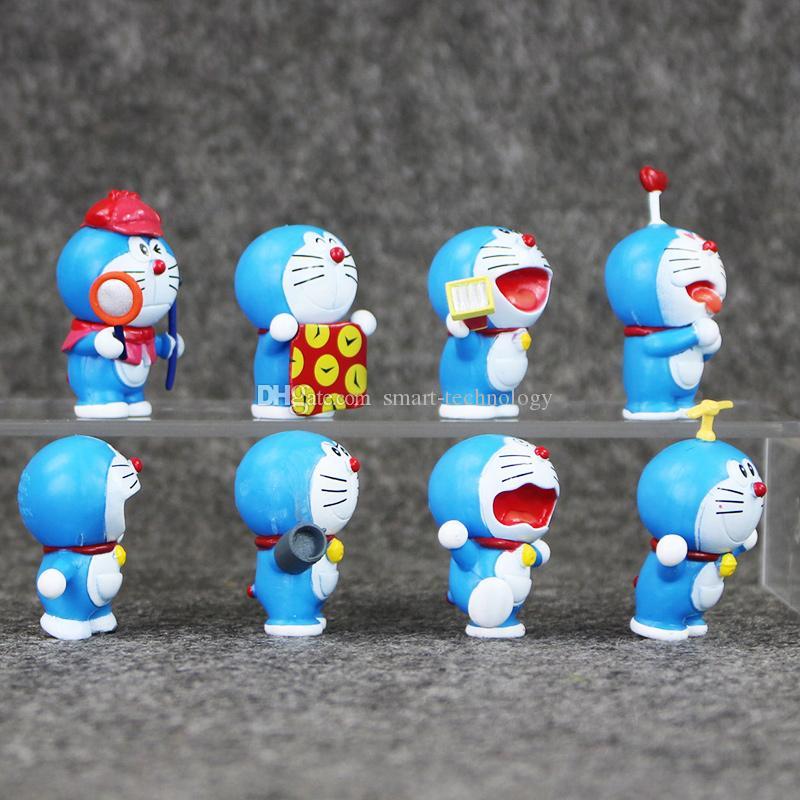 EMS 3.5-5 cm 8 estilos Anime Doraemon PVC Figura modelo colecionável modelo brinquedo para crianças presente de natal frete grátis