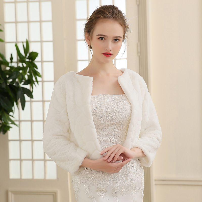 2017 New Arrival Bridal Wedding Bolero with Long Sleeves Fur Wraps Capes Wedding Jacket Coat Shrug Warm Shawls Bolero For Ladies Formal Wear