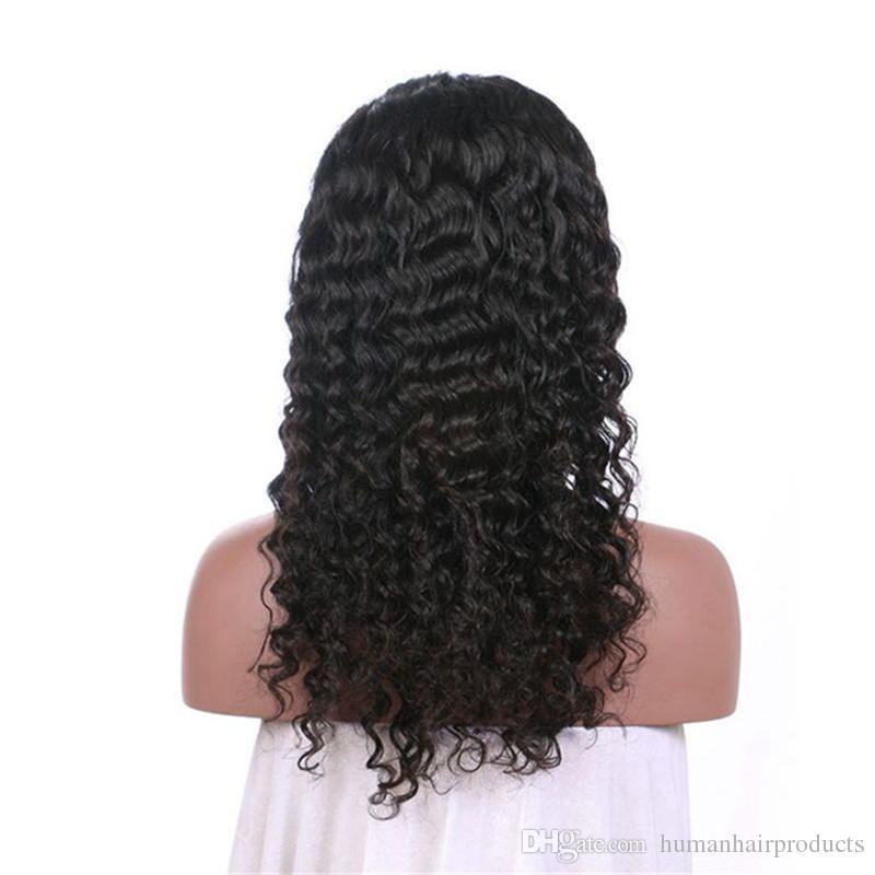 Deep Wave Peruvian Virgin Hair Full Lace Wigs For Black Women 130% Density Glueless Human Hair Wigs FDSHINE HAIR