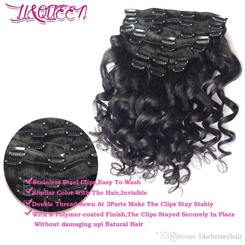Human Hair Weave Loose Wave Clip Ins Brazilian Virgin Hair Extensions 100gNatural Color Loose Wave Hair