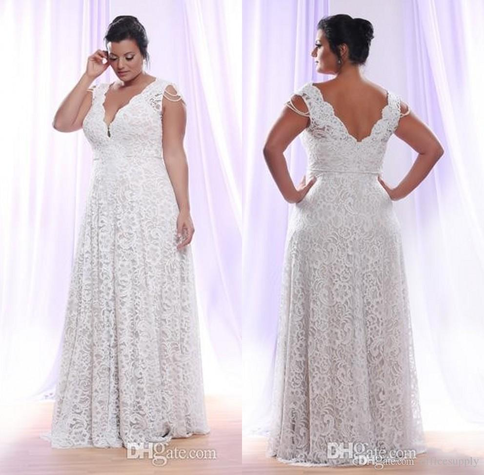 Plus Size White Lace Dresses Evening Wear 2017 Sleeveless Deep V Neck Floor  Length Mother Formal Prom Gowns Occasion Party Wears