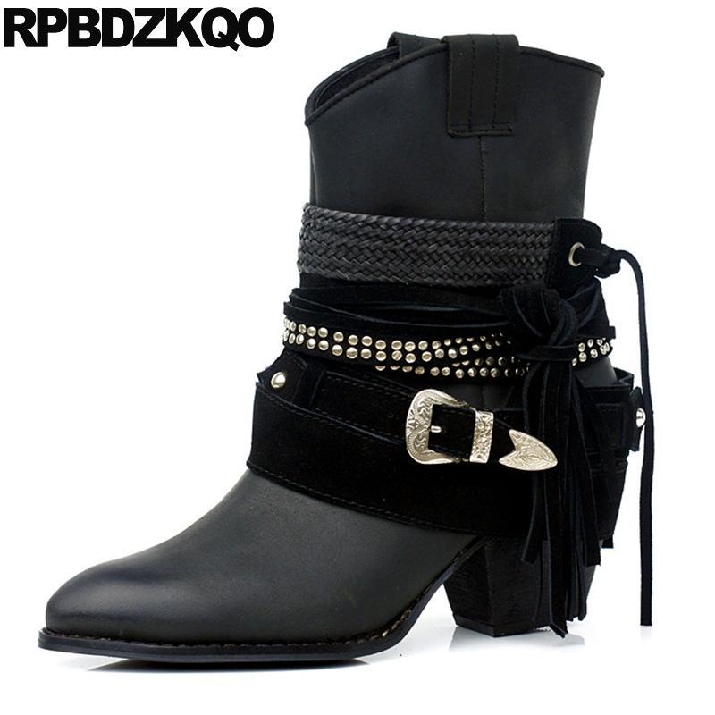 ... On Fringe Belts Shoes Women Ankle Boots Medium Heel Metal Rivet  Designer Genuine Leather Black High Tassel Pointed Bootsshoes Womanwomen Shoes  Online ...