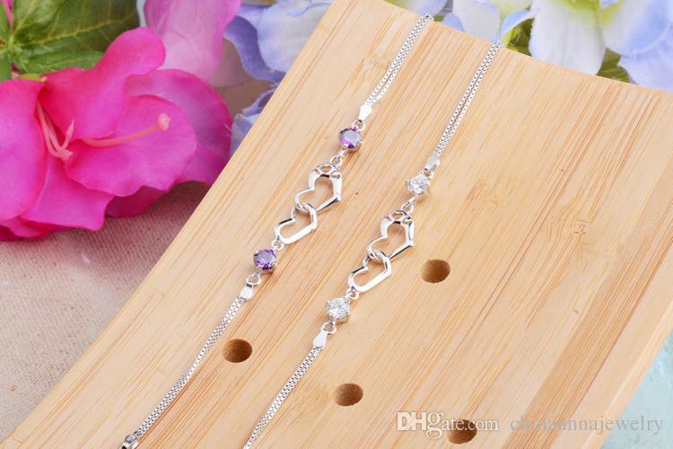 high quality beautiful hearts 925 silver bracelet China cheap wholesale summer heart design halloween teen girls' gift present