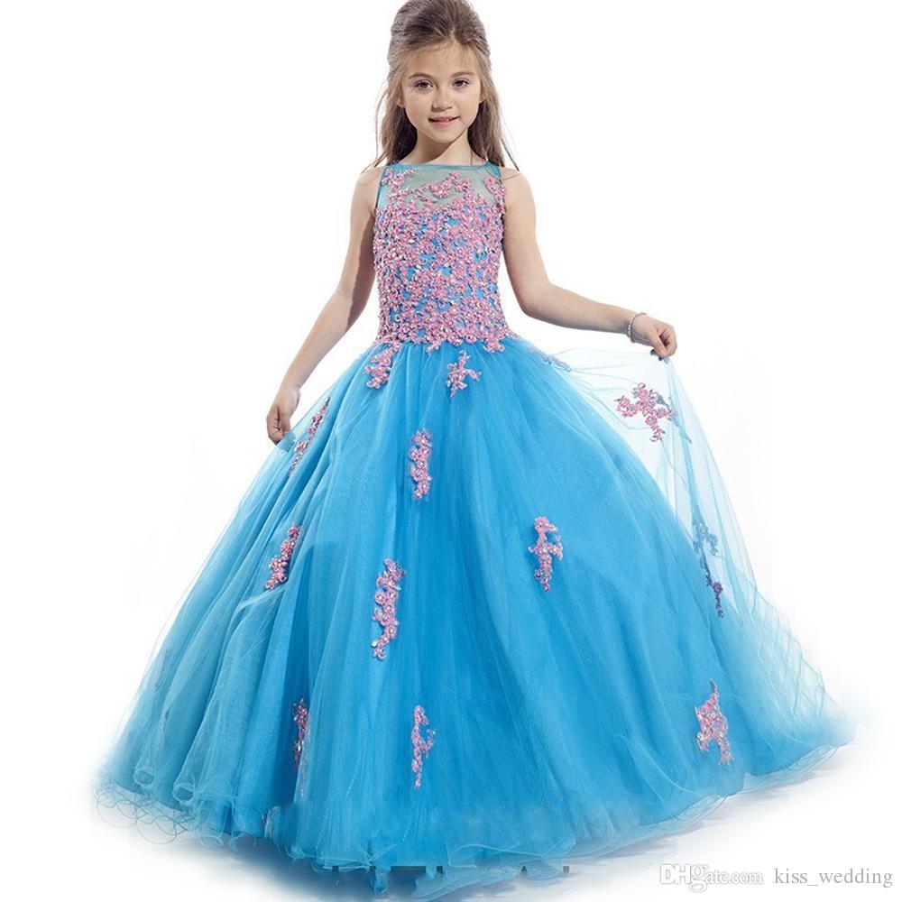 Hot Sales Blue Tulle Graduation Gown Children Sleeveless Floor ...