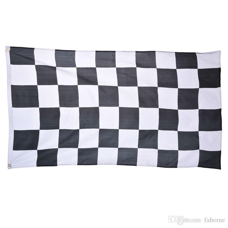 3 * 5ft Racing Zielflagge - Schwarz und Weiß Plaid Banner 90 * 150 cm Auto Racing Flagge Motorsport Racing Banner Wohnkultur Party Supplies