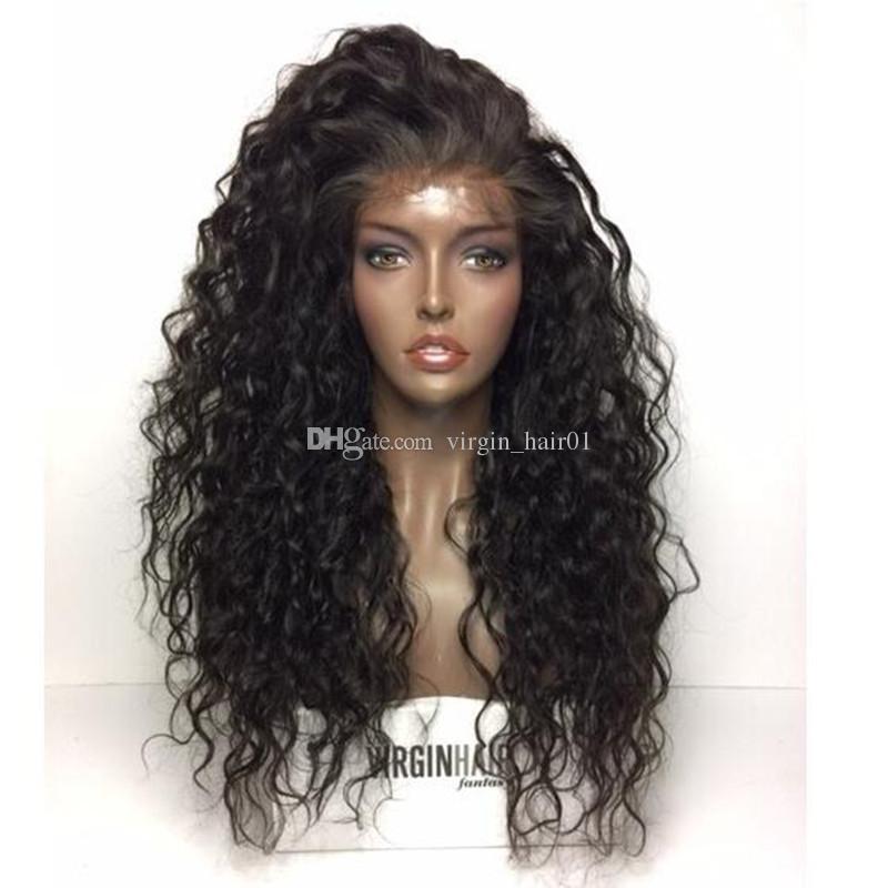 Parrucche anteriori del merletto dei capelli umani Parrucche piene del pizzo di Wave Wave le donne nere Scelta di densità di 180% Grande in azione Parrucca profonda dei capelli ricci
