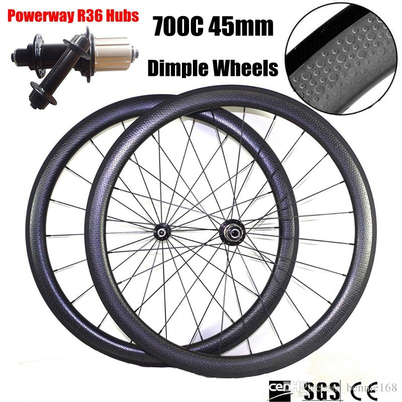 Dimple Wheels 700C 45mm Depth 25mm Width Full Carbon Bike Bicycle Wheels Wheelset UD Clincher Tubular Powerway R36 Hubs 20/24 Spokes