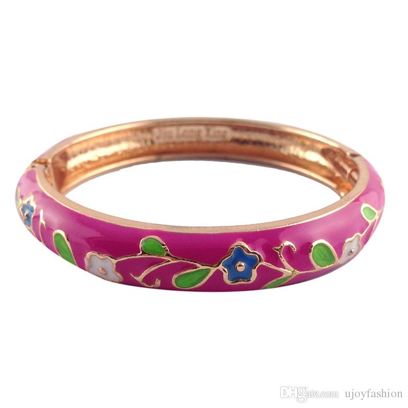 cute Flower style Elegant Bangles Women metal Accessories Fashion Jewelry many Colour Valentine Day Gifts P046